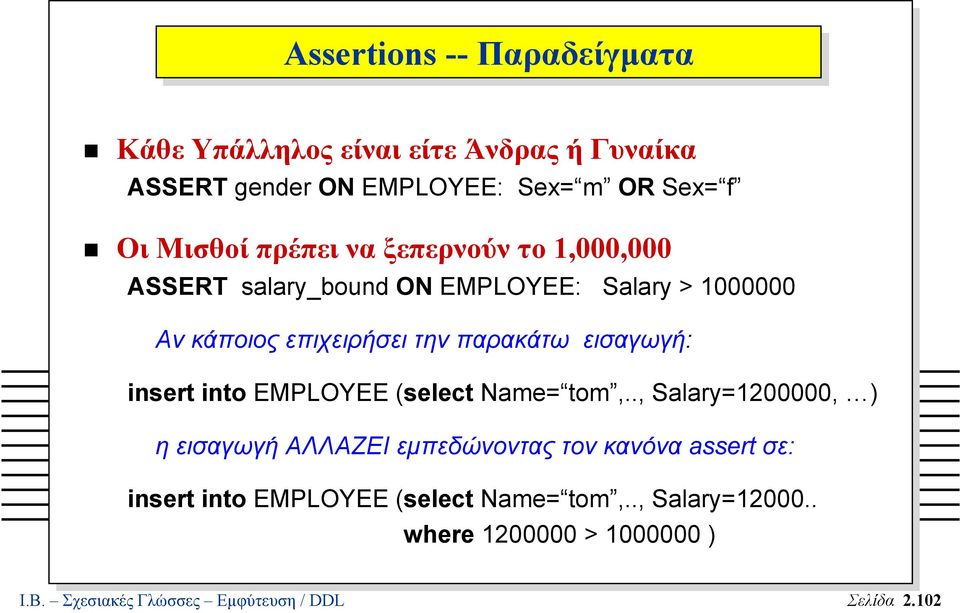 εισαγωγή: insert into EMPLOYEE (select Name= tom,.