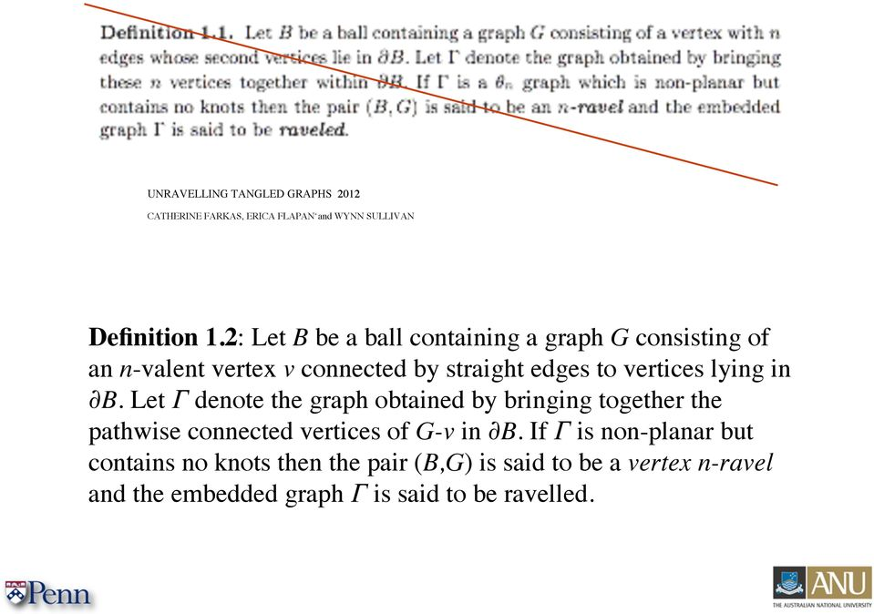 lying in B. Let Γ denote the graph obtained by bringing together the pathwise connected vertices of G-v in B.