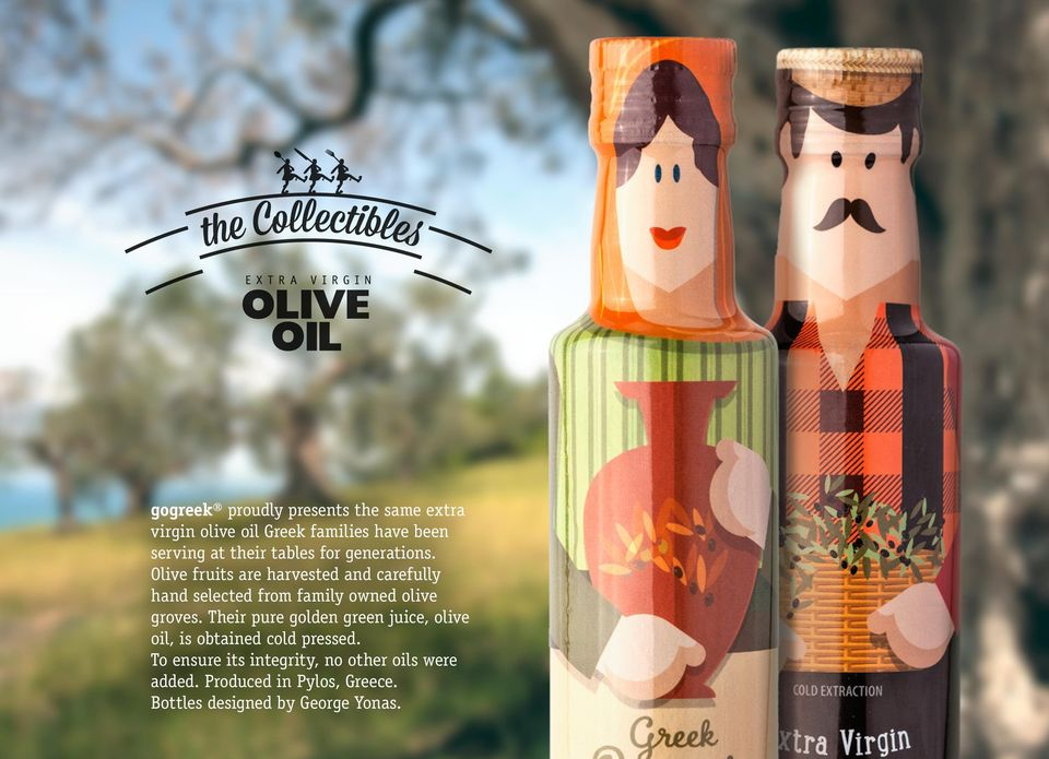 Olive fruits are harvested and carefully hand selected from family owned olive groves.