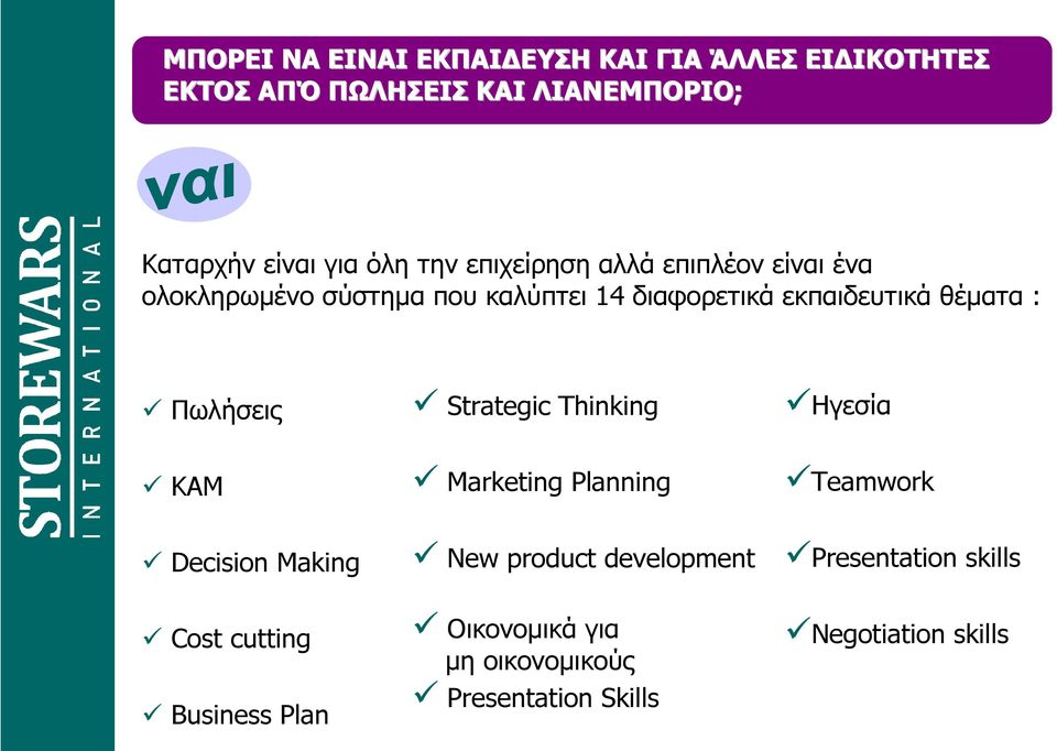 Πωλήσεις Strategic Thinking Ηγεσία ΚΑΜ Marketing Planning Teamwork Decision Making Cost cutting Business Plan