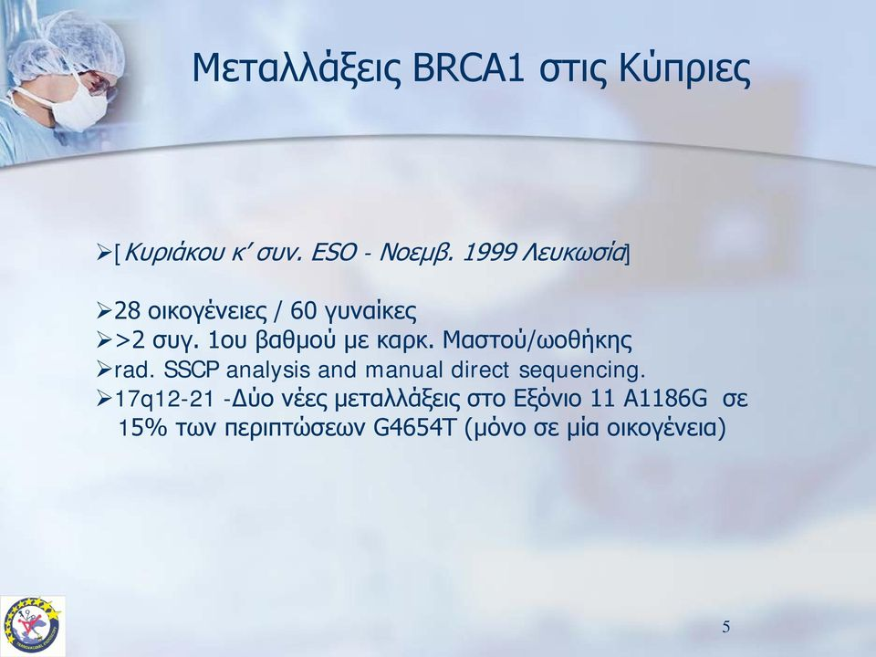 Μαστού/ωοθήκης rad. SSCP analysis and manual direct sequencing.