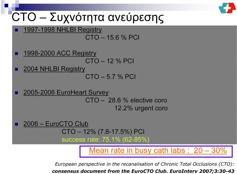 6 % elective coro 12.2% urgent coro 2006 EuroCTO Club CTO 12% (7.8-17.5%) PCI success rate: 75.