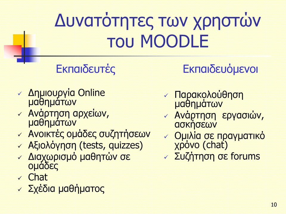 (tests, quizzes) Διαχωρισμό μαθητών σε ομάδες Chat Σχέδια μαθήματος Παρακολούθηση