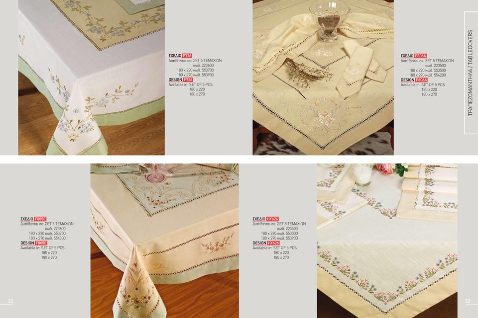 554200 DESIGN f806a 180 x 220 180 x 270 τραπεζομαντηλα / tablecovers ΣΧΕΔΙΟ f805e Διατίθενται σε: ΣΕΤ 5 ΤΕΜΑΧΙΩΝ κωδ. 223600 180 x 220 κωδ.