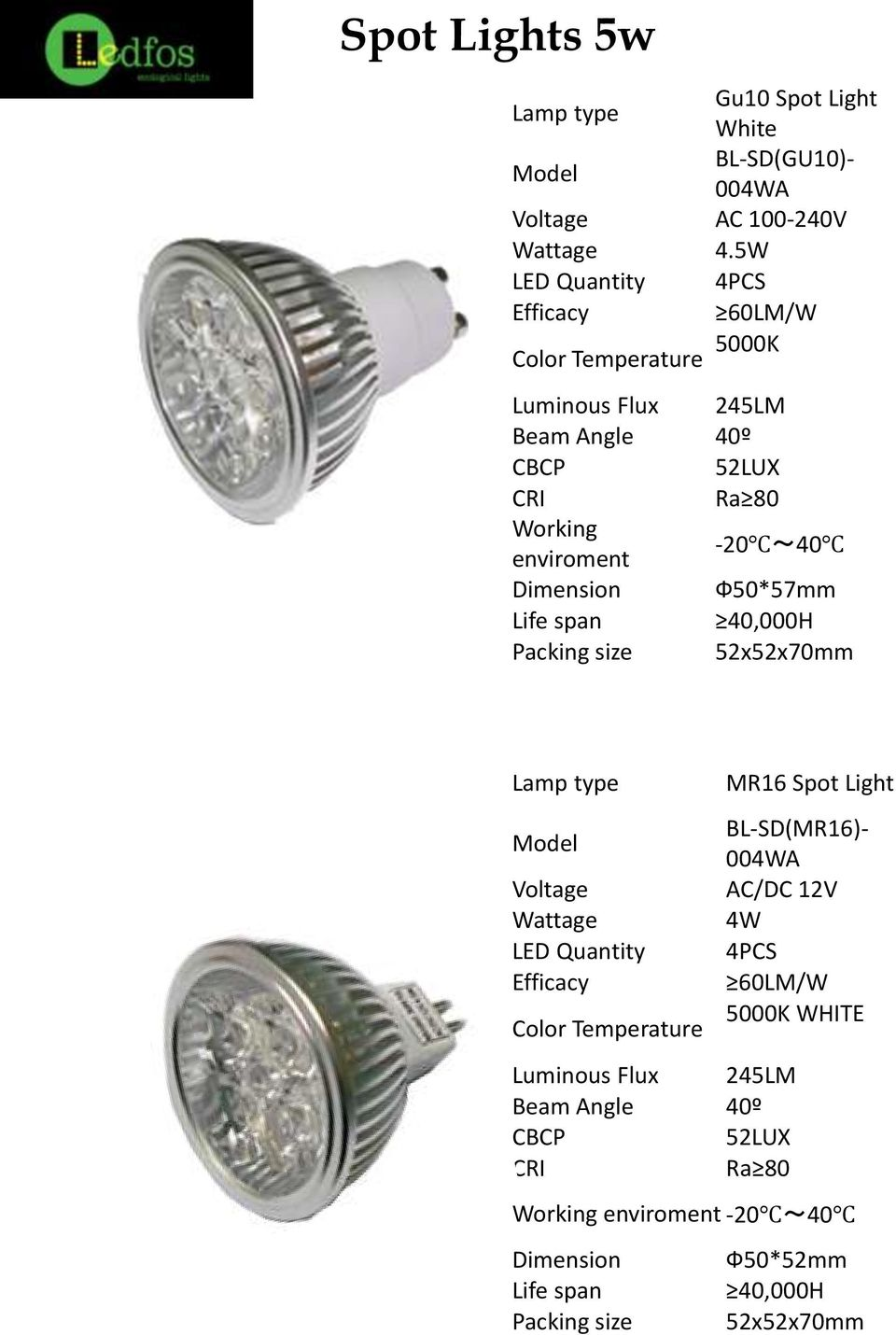 Dimension Ф50*57mm Life span 40,000H Packing size 52x52x70mm Lamp type MR16 Spot Light Model Voltage Wattage LED Quantity Efficacy Color Temperature