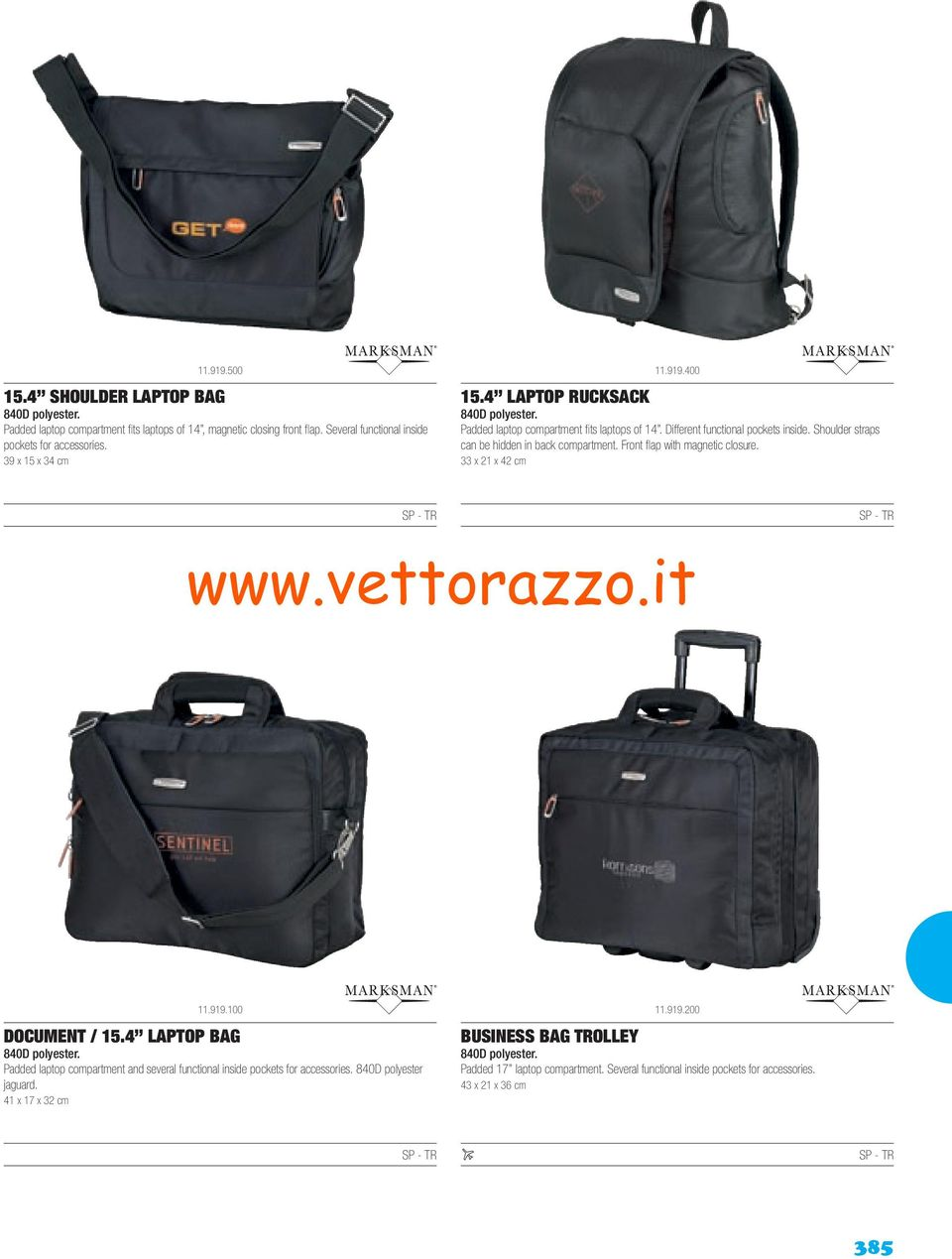 Front flap with magnetic closure. 33 x 21 x 42 cm 11.919.100 DOCUMENT / 15.4 LAPTOP BAG 840D polyester. Padded laptop compartment and several functional inside pockets for accessories.