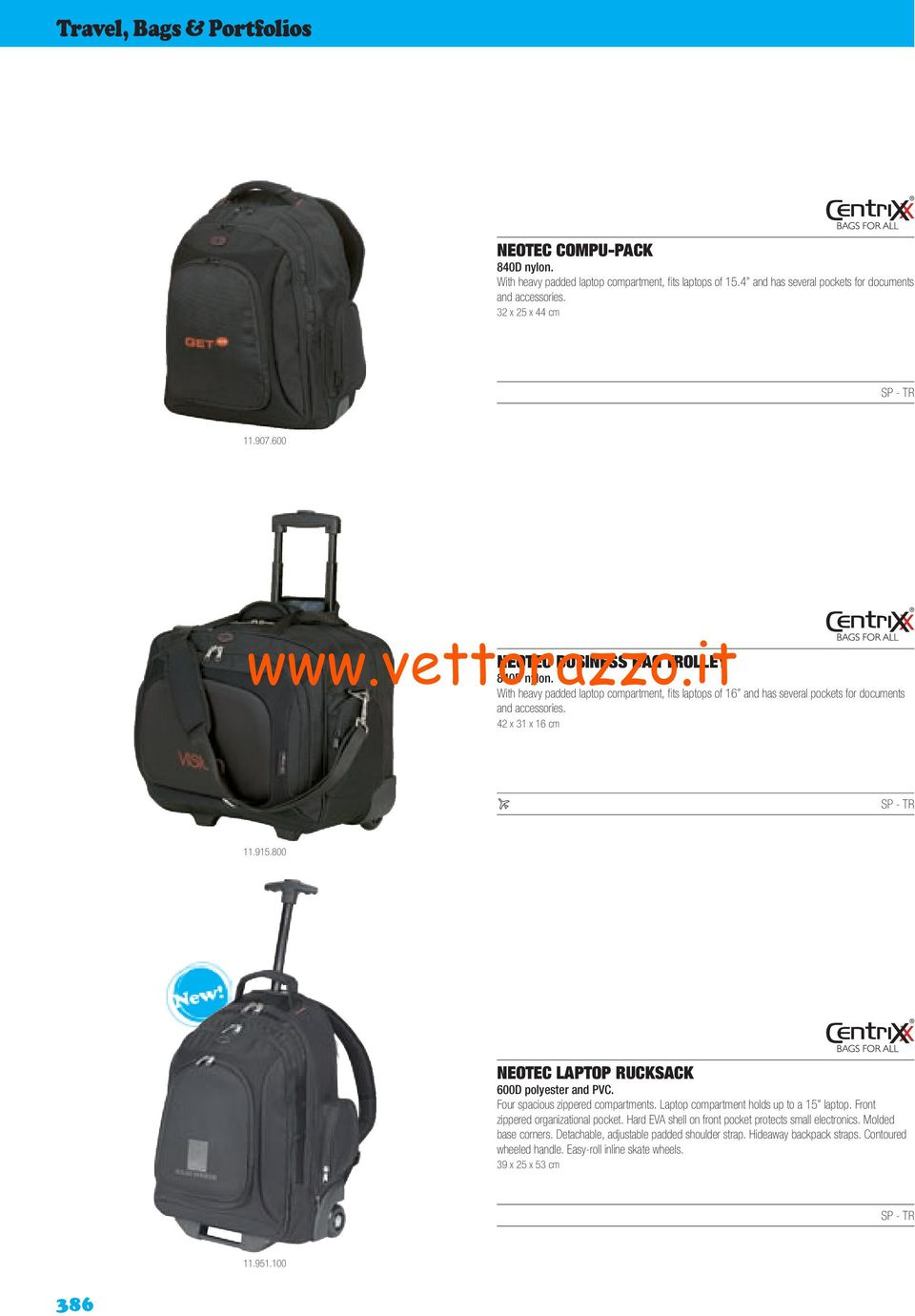 800 NEOTEC LAPTOP RUCKSACK 600D polyester and PVC. Four spacious zippered compartments. Laptop compartment holds up to a 15 laptop. Front zippered organizational pocket.