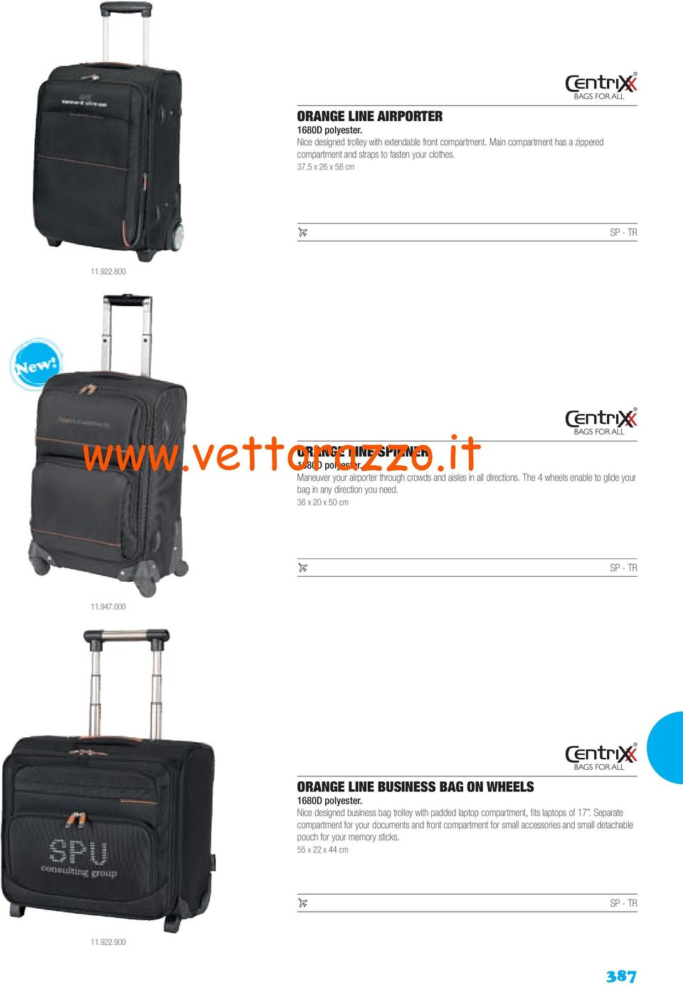 The 4 wheels enable to glide your bag in any direction you need. 36 x 20 x 50 cm 11.947.000 ORANGE LINE BUSINESS BAG ON WHEELS 1680D polyester.