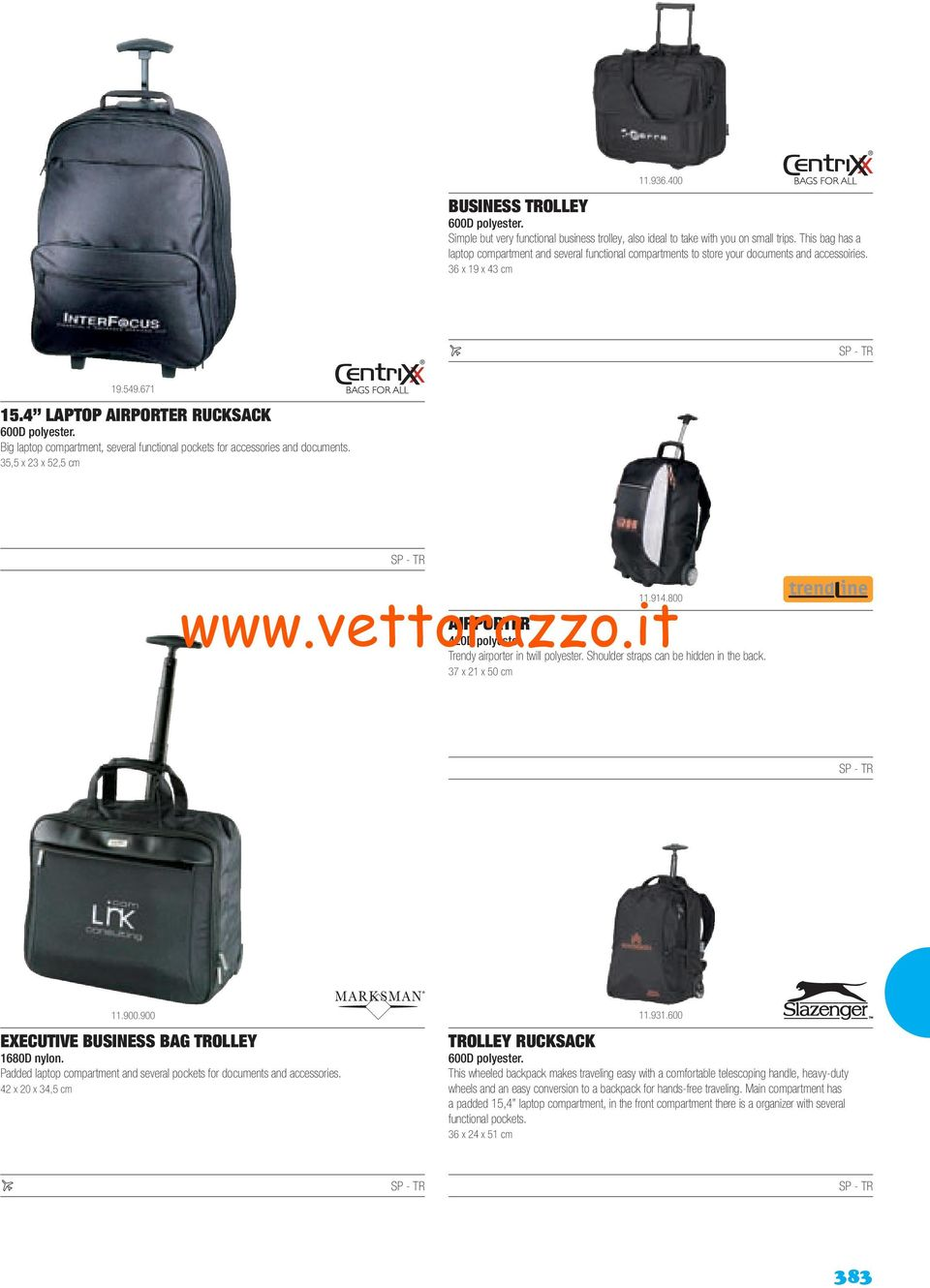 Big laptop compartment, several functional pockets for accessories and documents. 35,5 x 23 x 52,5 cm 11.914.800 AIRPORTER 420D polyester. Trendy airporter in twill polyester.