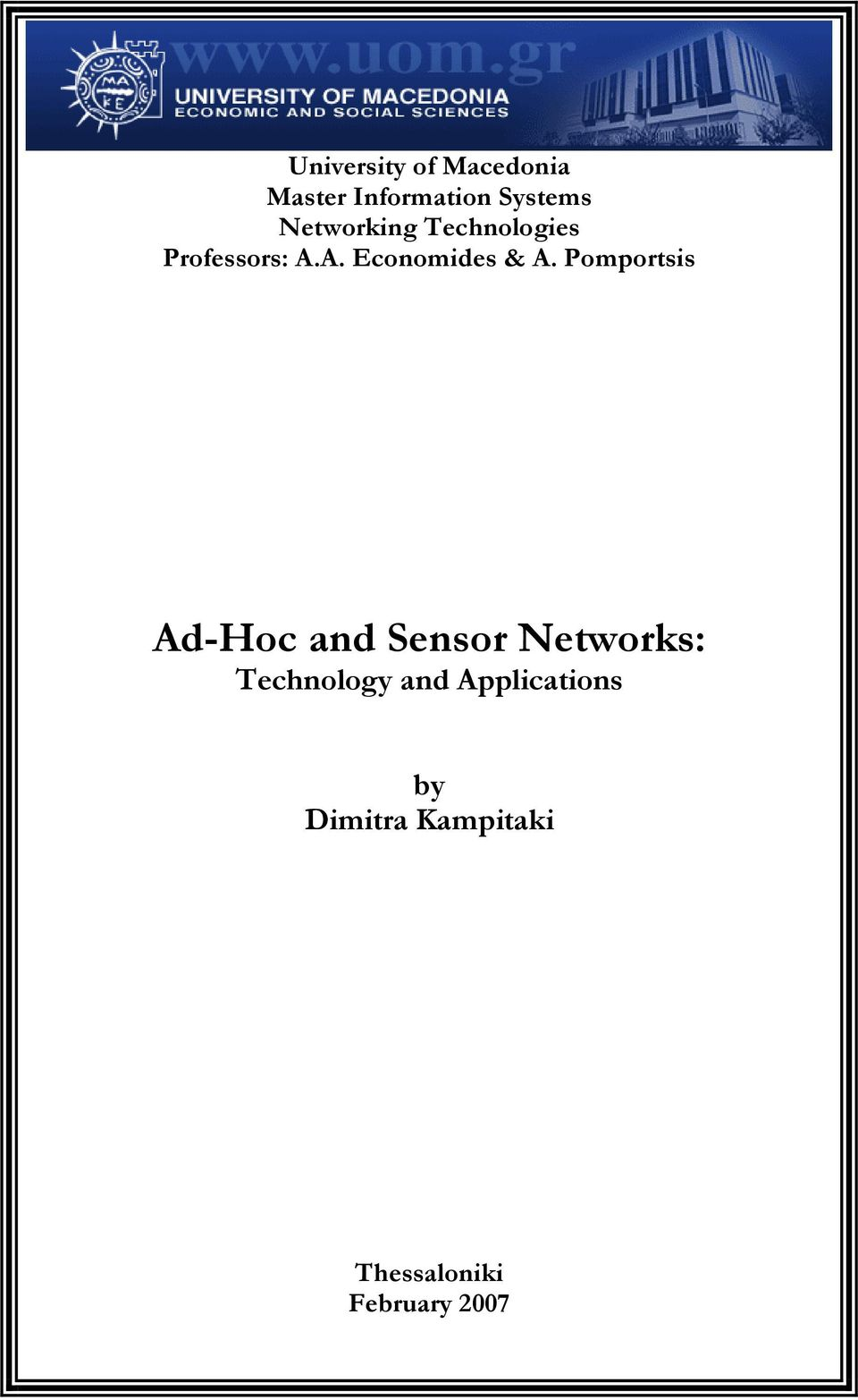 Pomportsis Ad-Hoc and Sensor Networks: Technology and