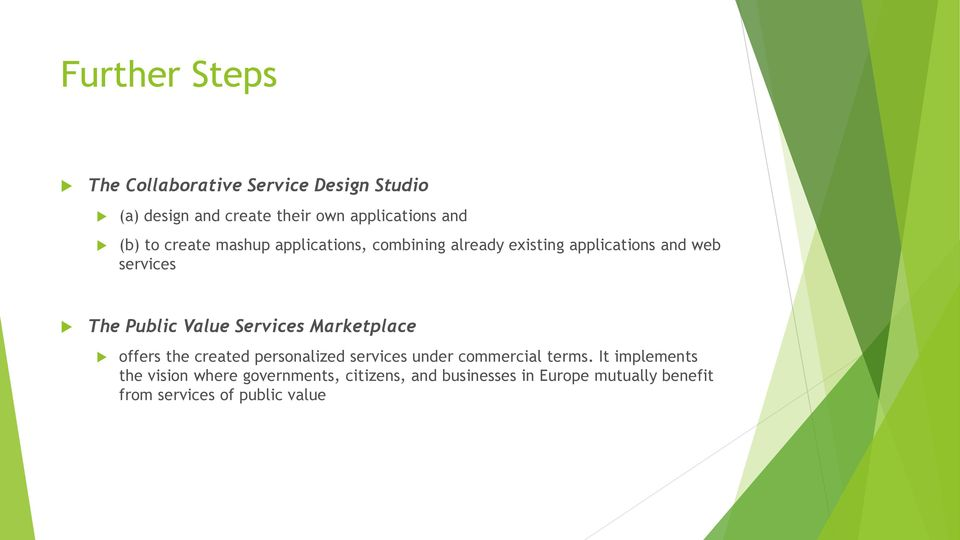 Value Services Marketplace offers the created personalized services under commercial terms.