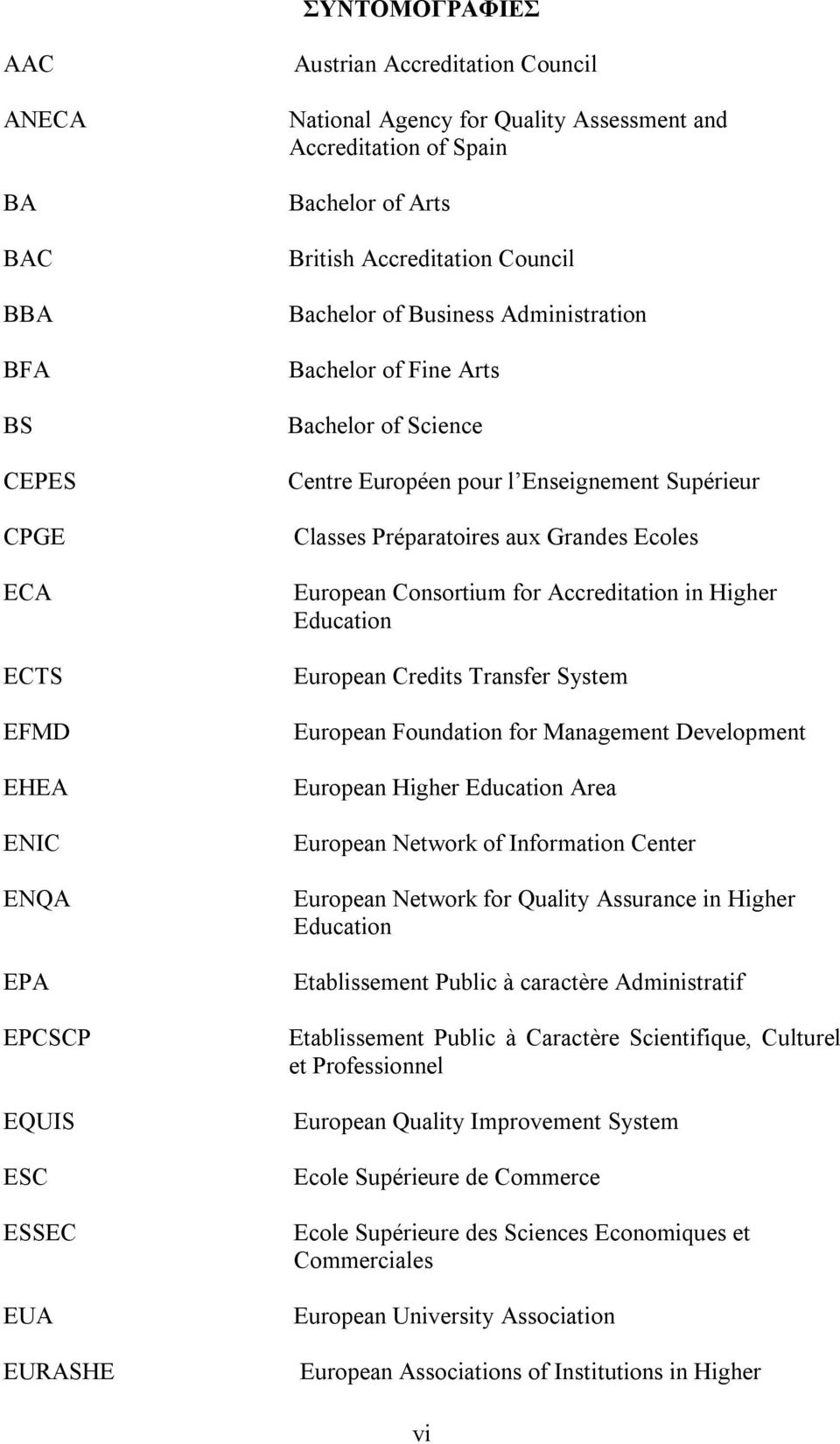 Classes Préparatoires aux Grandes Ecoles European Consortium for Accreditation in Higher Education European Credits Transfer System European Foundation for Management Development European Higher