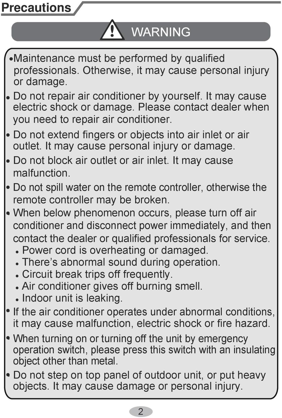 It may cause personal injury or damage. Do not block air outlet or air inlet. It may cause malfunction. Do not spill water on the remote controller, otherwise the remote controller may be broken.