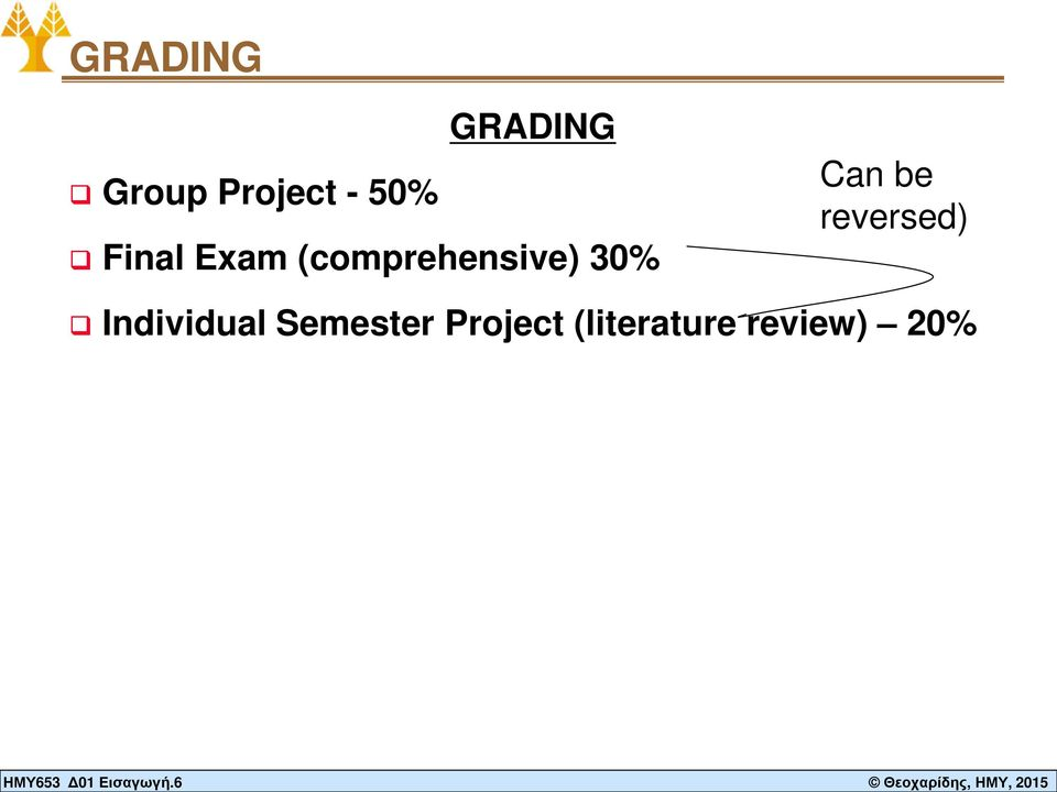 Project - 50% GRADING Final Exam