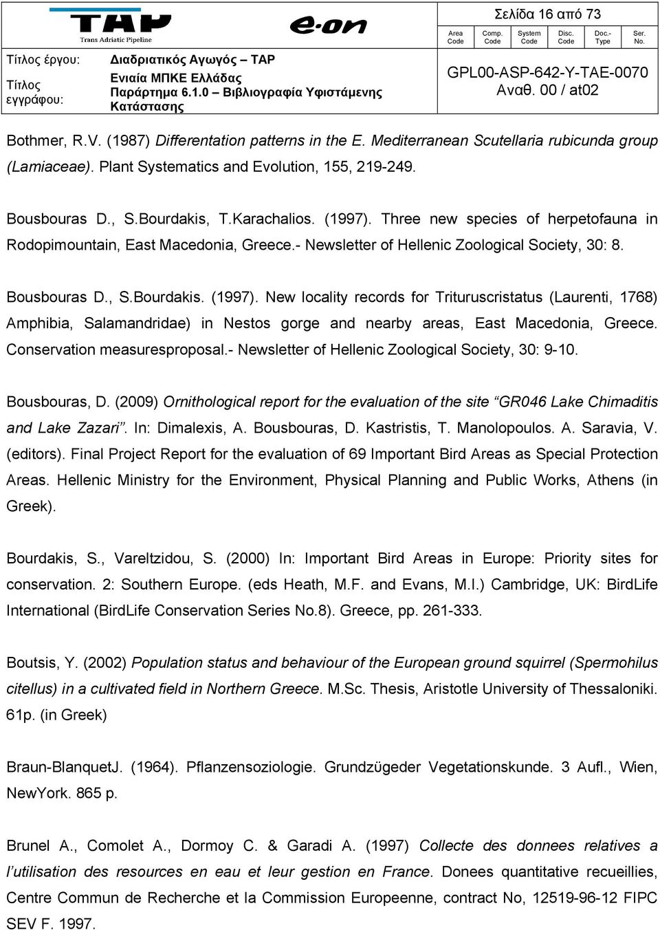 Conservation measuresproposal.- Newsletter of Hellenic Zoological Society, 30: 9-10. Bousbouras, D. (2009) Ornithological report for the evaluation of the site GR046 Lake Chimaditis and Lake Zazari.