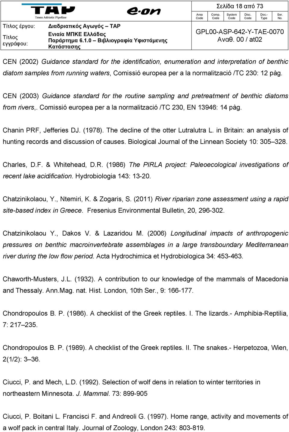 Chanin PRF, Jefferies DJ. (1978). The decline of the otter Lutralutra L. in Britain: an analysis of hunting records and discussion of causes. Biological Journal of the Linnean Society 10: 305 328.
