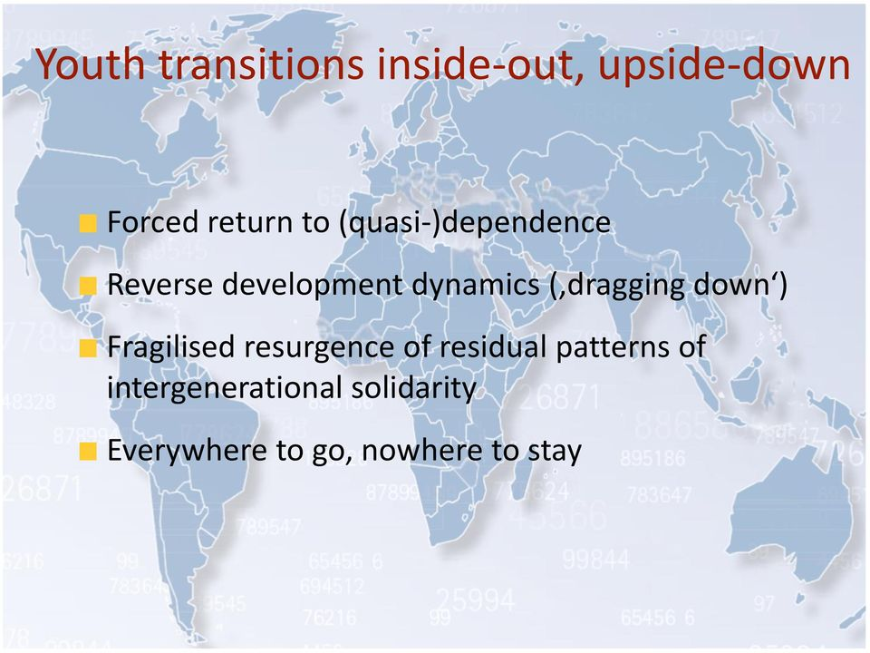 down ) Fragilised resurgence of residual patterns of