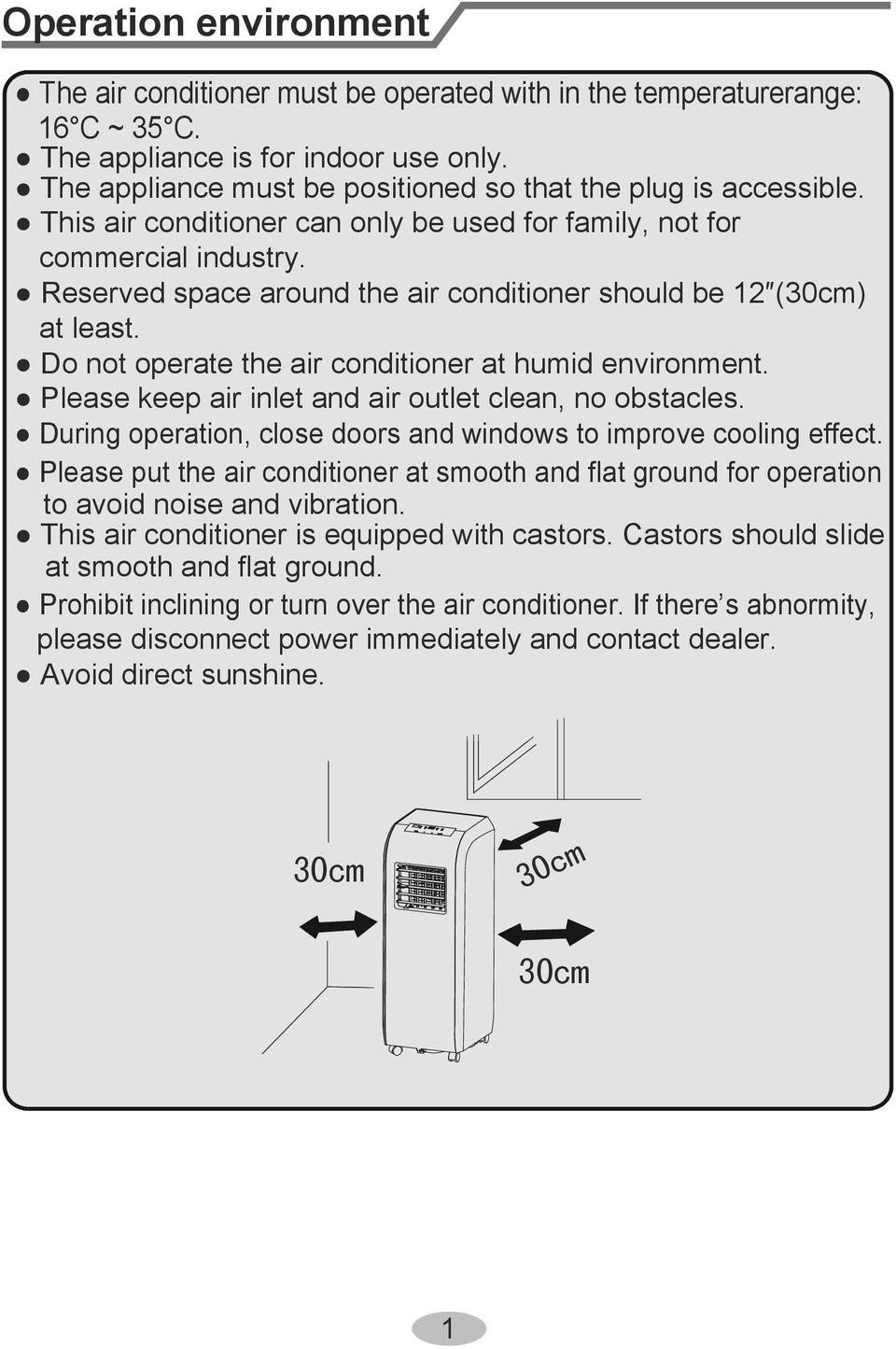 Reserved space around the air conditioner should be 12 (30cm) at least. Do not operate the air conditioner at humid environment. Please keep air inlet and air outlet clean, no obstacles.