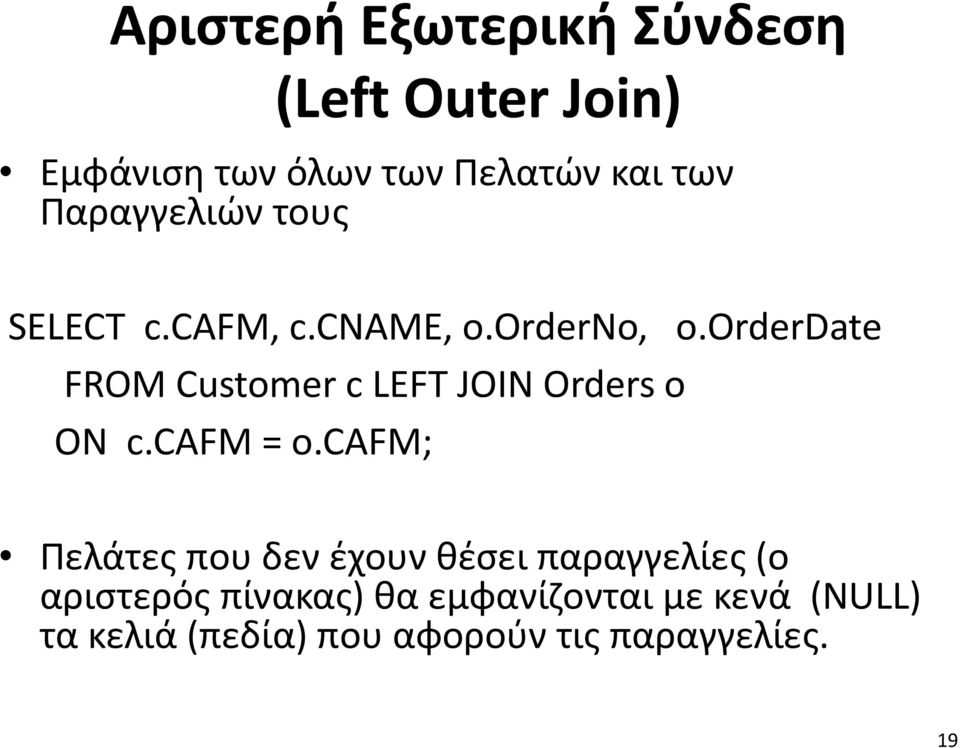 orderdate FROM Customer c LEFT JOIN Orders o ON c.cafm = o.