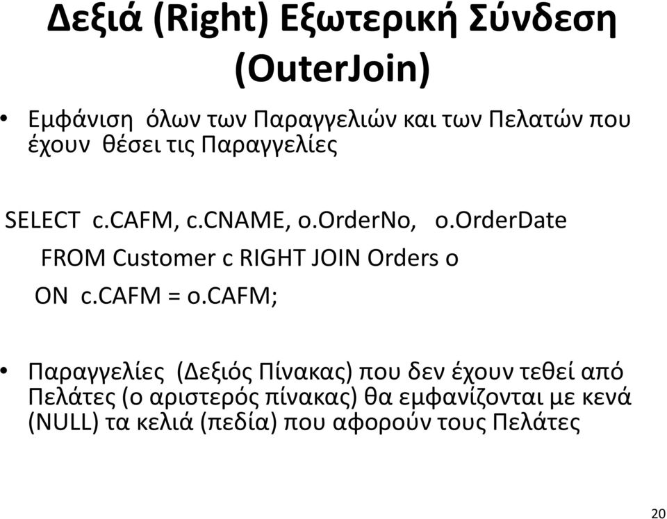 orderdate FROM Customer c RIGHT JOIN Orders o ON c.cafm = o.