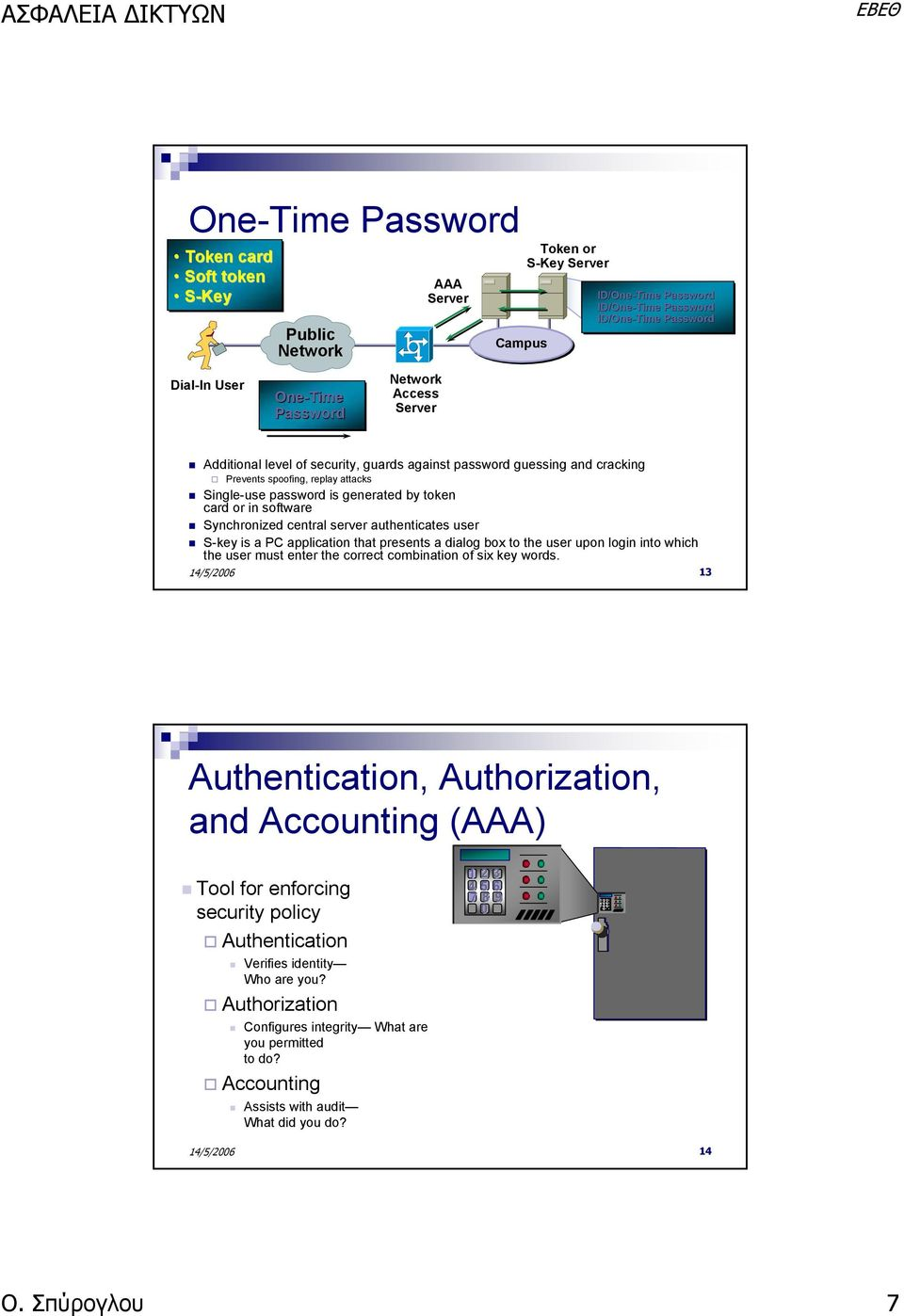 Synchronized central server authenticates user S-key is a PC application that presents a dialog box to the user upon login into which the user must enter the correct combination of six key words.