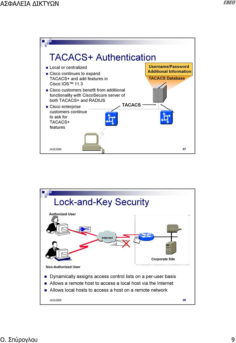 for TACACS+ features Username/Password Additional Information TACACS Database 17 Lock-and-Key Security Authorized User Internet Corporate Site