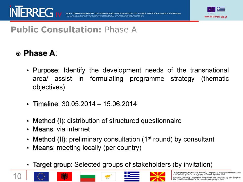 2014 Method (I): distribution of structured questionnaire Means: via internet Method (II): preliminary
