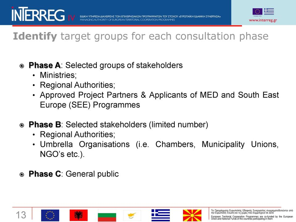Europe (SEE) Programmes Phase B: Selected stakeholders (limited number) Regional Authorities;