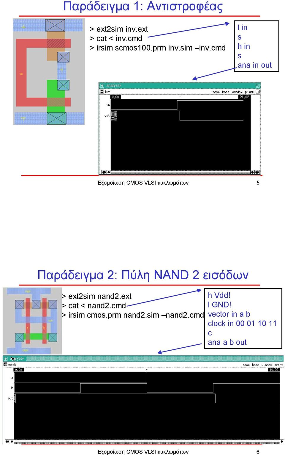 cmd l in s h in s ana in out Εξοµοίωση CMOS VLSI κυκλωµάτων 5 2: Πύλη NAND 2 εισόδων