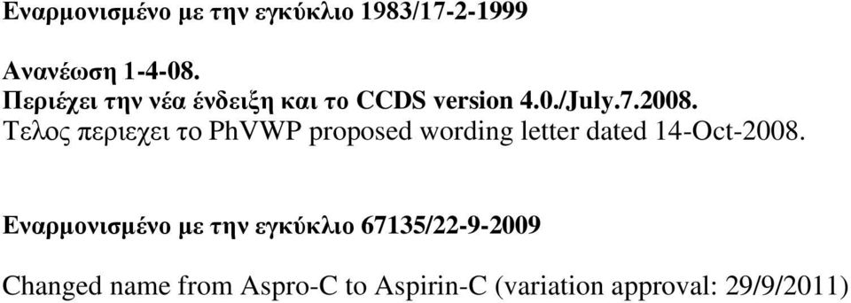 Τελος περιεχει το PhVWP proposed wording letter dated 14-Oct-2008.