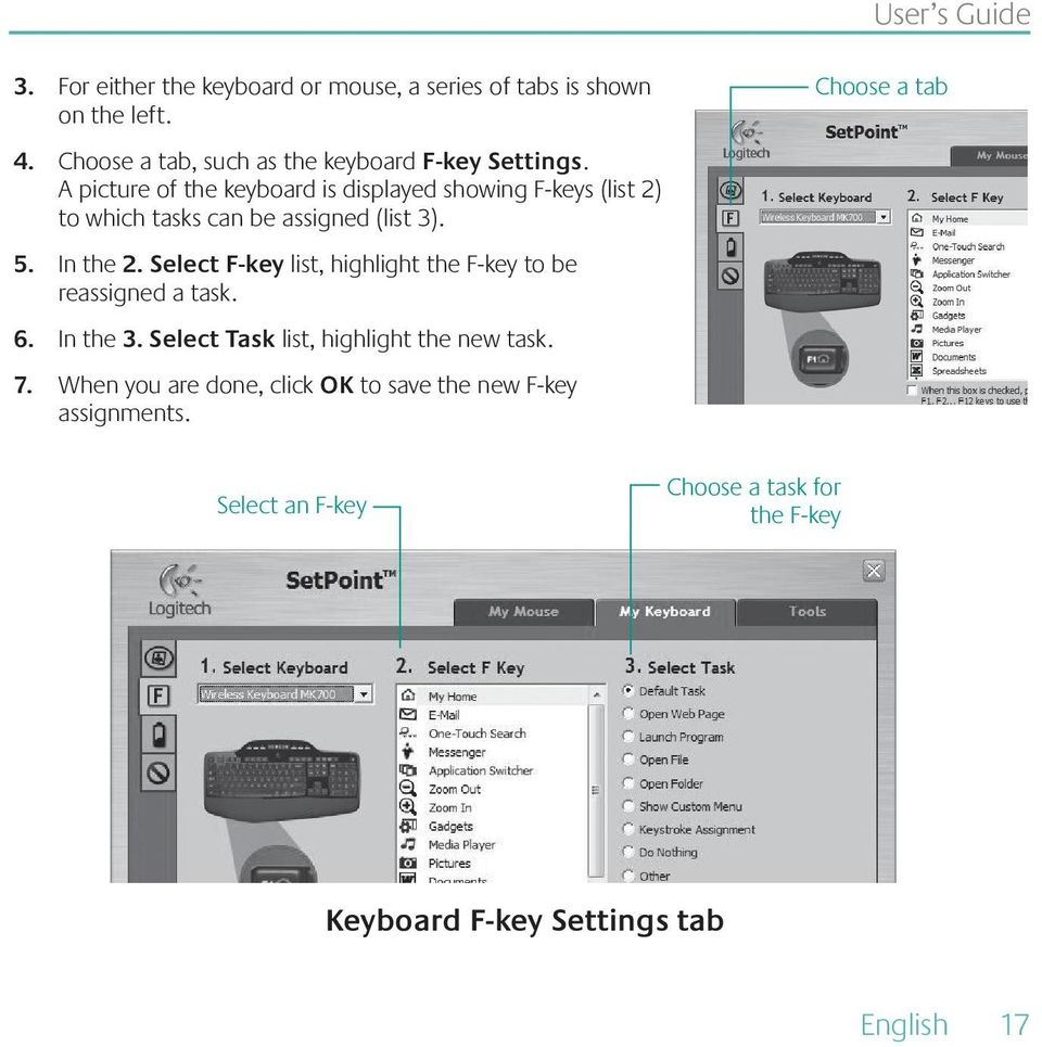 A picture of the keyboard is displayed showing F-keys (list 2) to which tasks can be assigned (list 3). 5. In the 2.