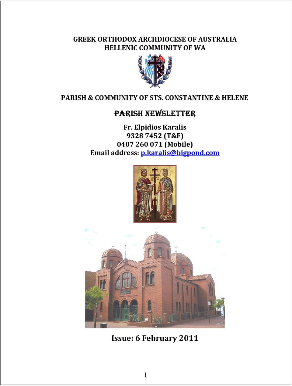 CONSTANTINE & HELENE PARISH NEWSLETTER Fr.
