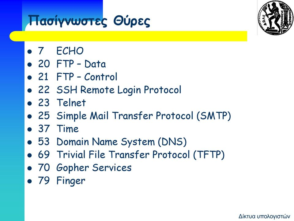 Protocol (SMTP) 37 Time 53 Domain Name System (DNS) 69