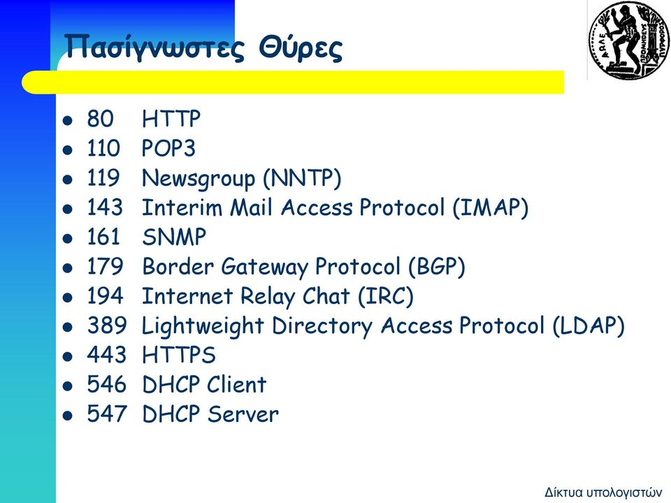 Protocol (BGP) 194 Internet Relay Chat (IRC) 389 Lightweight