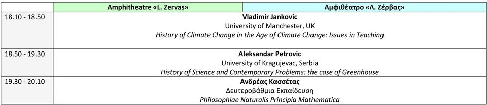 Climate Change: Issues in Teaching 18.50-19.