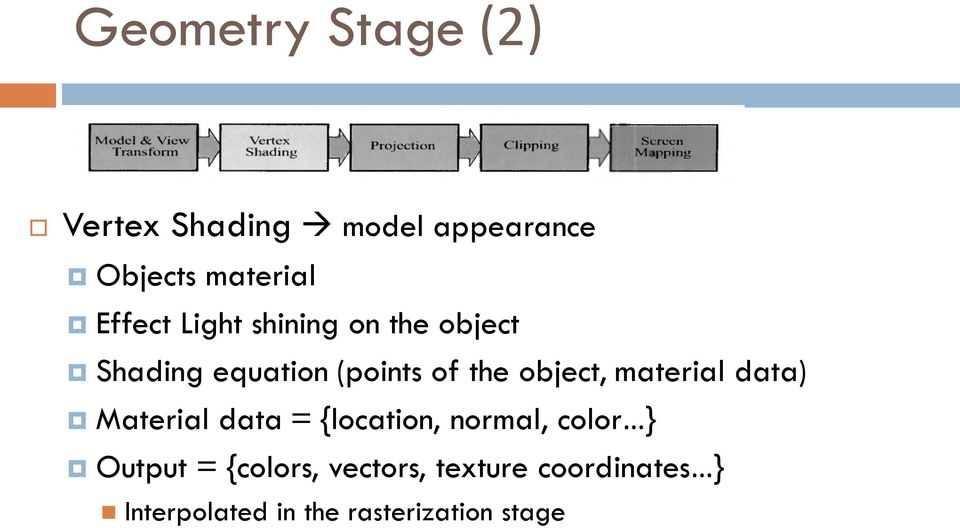 object, material data) Material data = {location, normal, color } Output