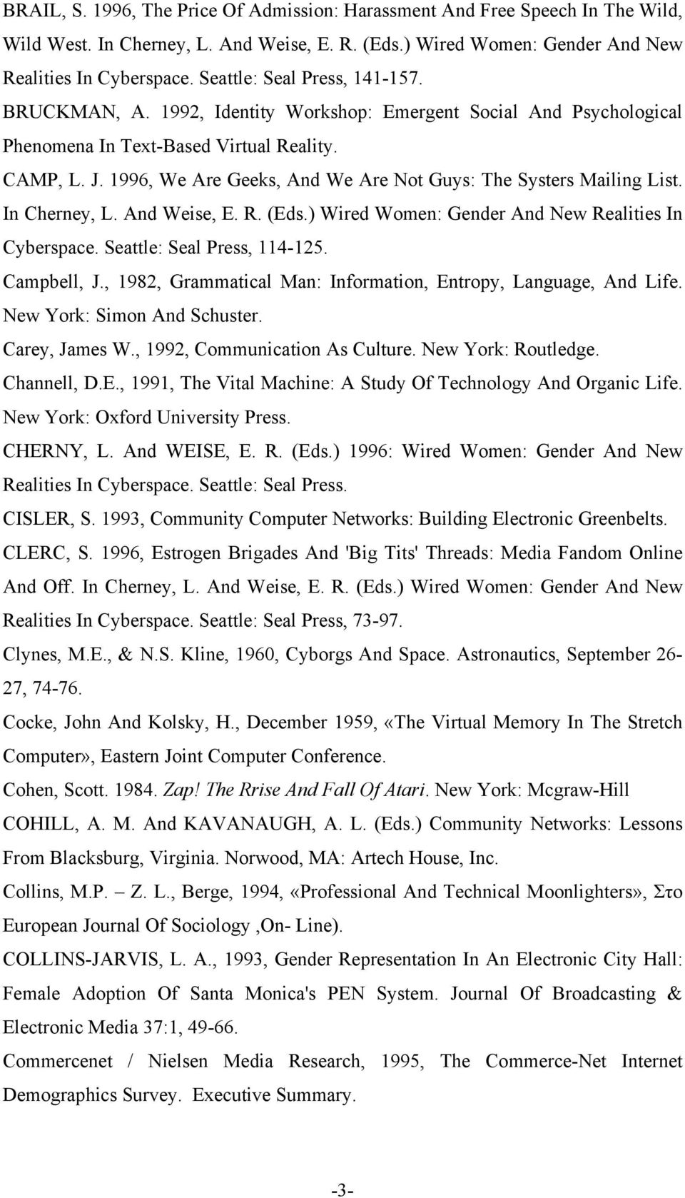 1996, We Are Geeks, And We Are Not Guys: The Systers Mailing List. In Cherney, L. And Weise, E. R. (Eds.) Wired Women: Gender And New Realities In Cyberspace. Seattle: Seal Press, 114-125.