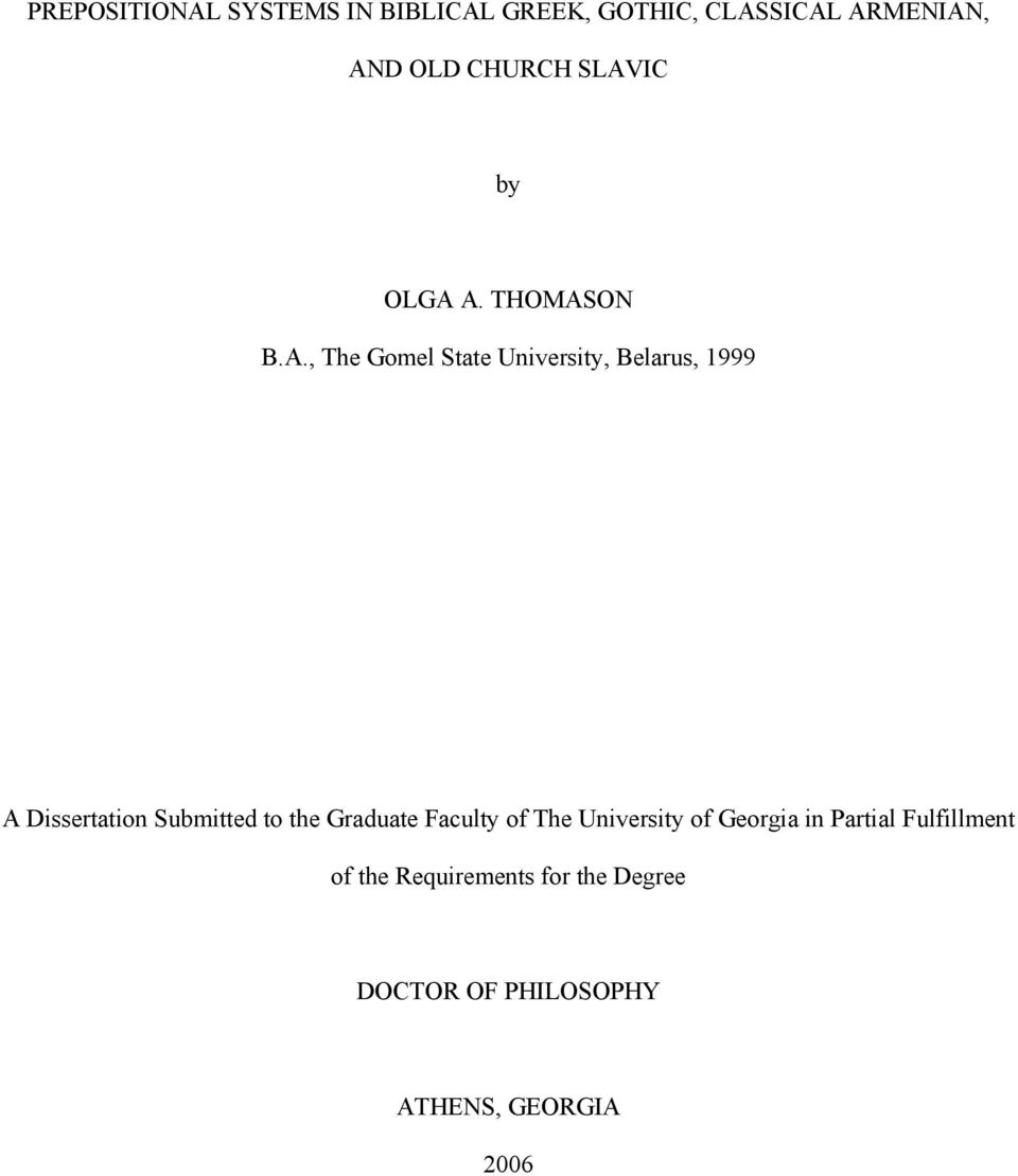 Dissertation Submitted to the Graduate Faculty of The University of Georgia in