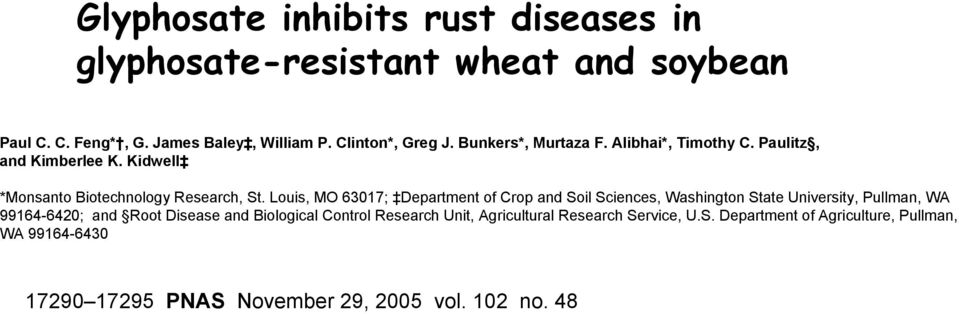 Louis, MO 63017; Department of Crop and Soil Sciences, Washington State University, Pullman, WA 99164-6420; and Root Disease and