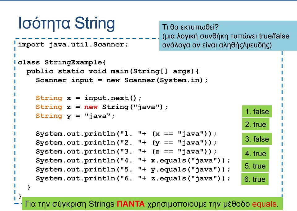 "in); String x = input.next(); String z = new String(""java""); String y = ""java ; System.out.println(""1. ""+ (x == ""java"")); System.out.println(""2."
