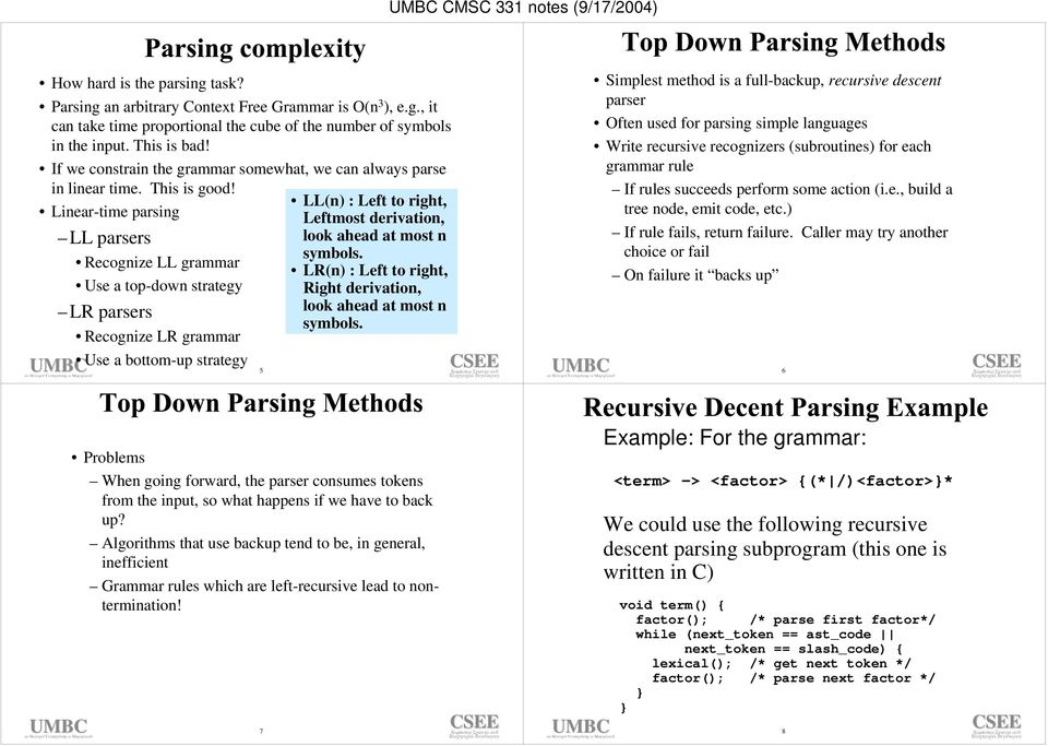 Linear-time parsing LL parsers Recognize LL grammar Use a top-down strategy LR parsers Recognize LR grammar Use a bottom-up strategy 5 LL(n) : Left to right, Leftmost derivation, look ahead at most n