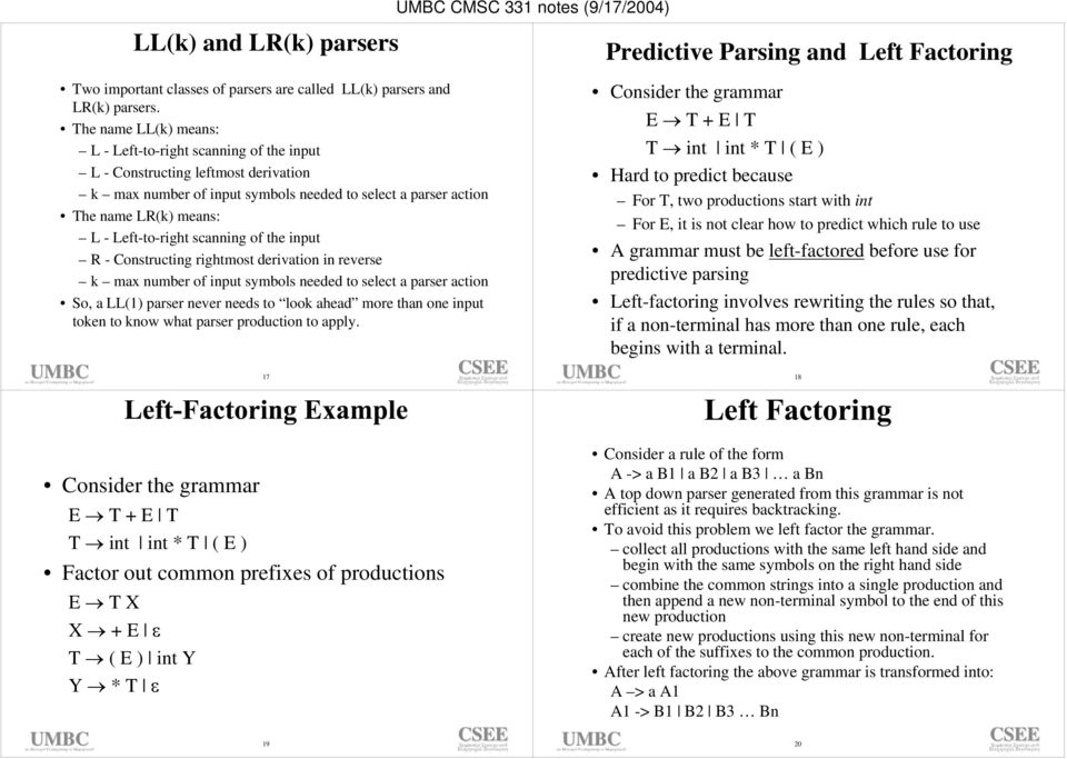 Left-to-right scanning of the input R - Constructing rightmost derivation in reverse k max number of input symbols needed to select a parser action So, a LL(1) parser never needs to look ahead more