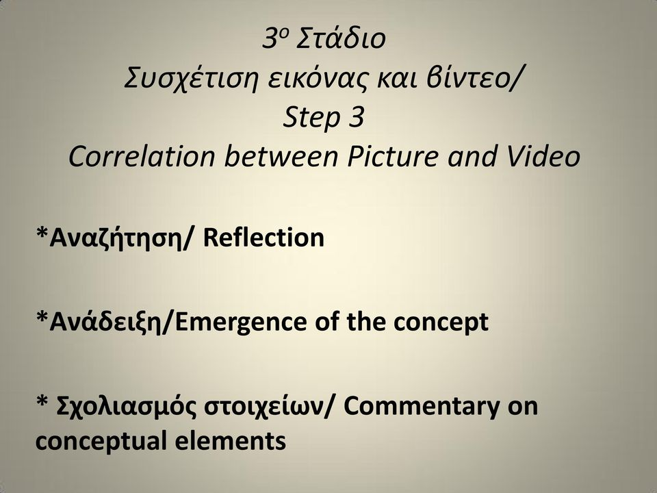 Reflection *Ανάδειξη/Emergence of the concept *
