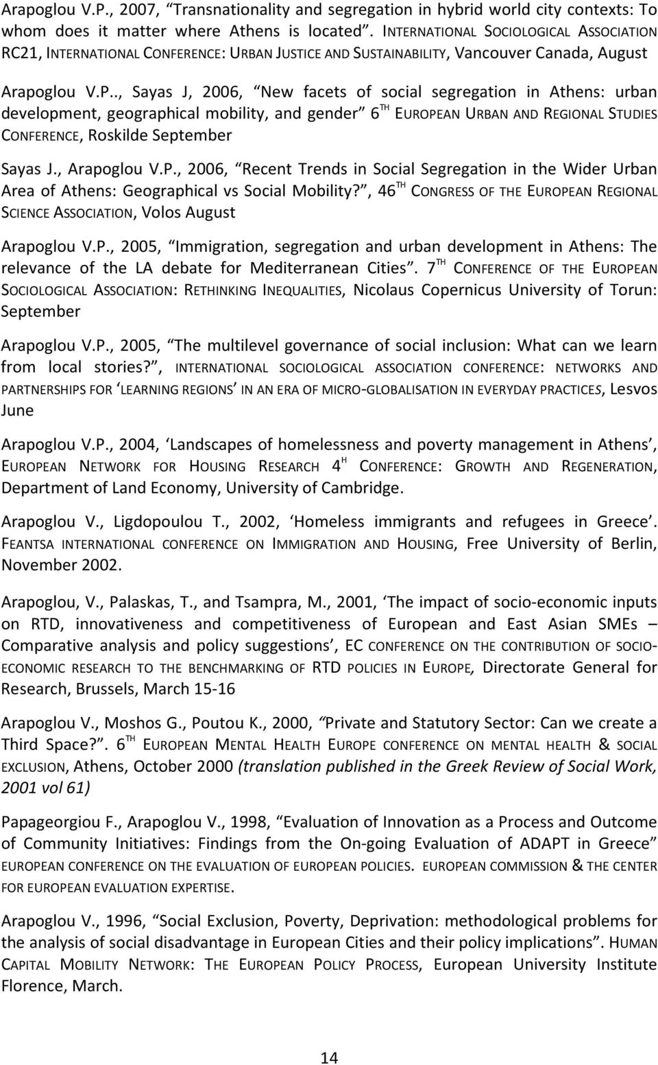 ., Sayas J, 2006, New facets of social segregation in Athens: urban development, geographical mobility, and gender 6 TH EUROPEAN URBAN AND REGIONAL STUDIES CONFERENCE, Roskilde September Sayas J.