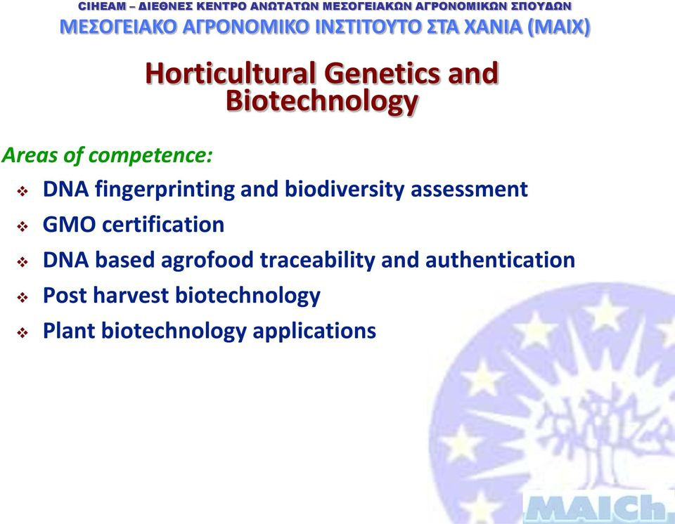 GMO certification DNA based agrofood traceability and