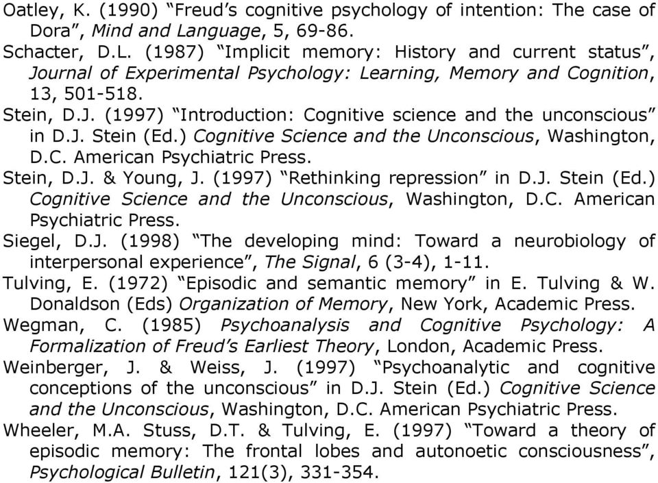 J. Stein (Ed.) Cognitive Science and the Unconscious, Washington, D.C. American Psychiatric Press. Stein, D.J. & Young, J. (1997) Rethinking repression in D.J. Stein (Ed.) Cognitive Science and the Unconscious, Washington, D.C. American Psychiatric Press. Siegel, D.