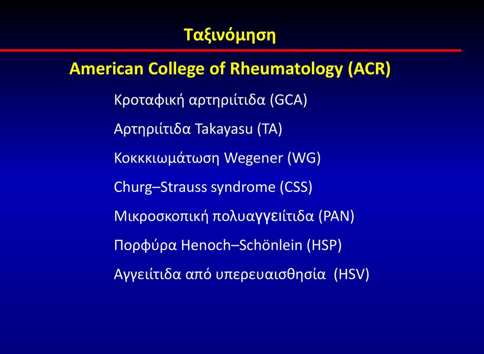Wegener (WG) Churg Strauss syndrome (CSS) Μικροσκοπική