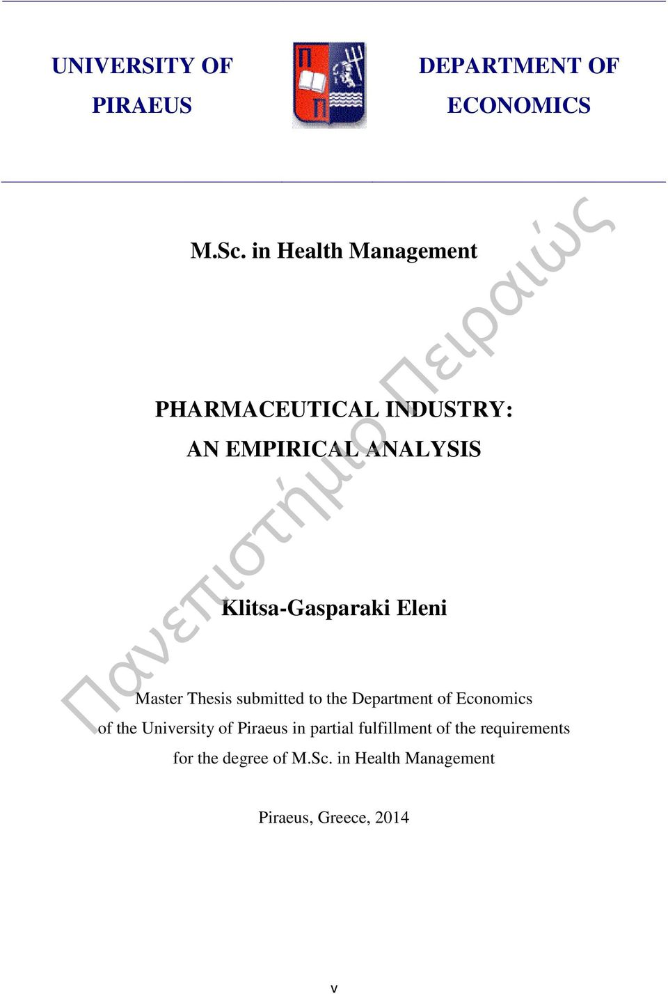Eleni Master Thesis submitted to the Department of Economics of the University of