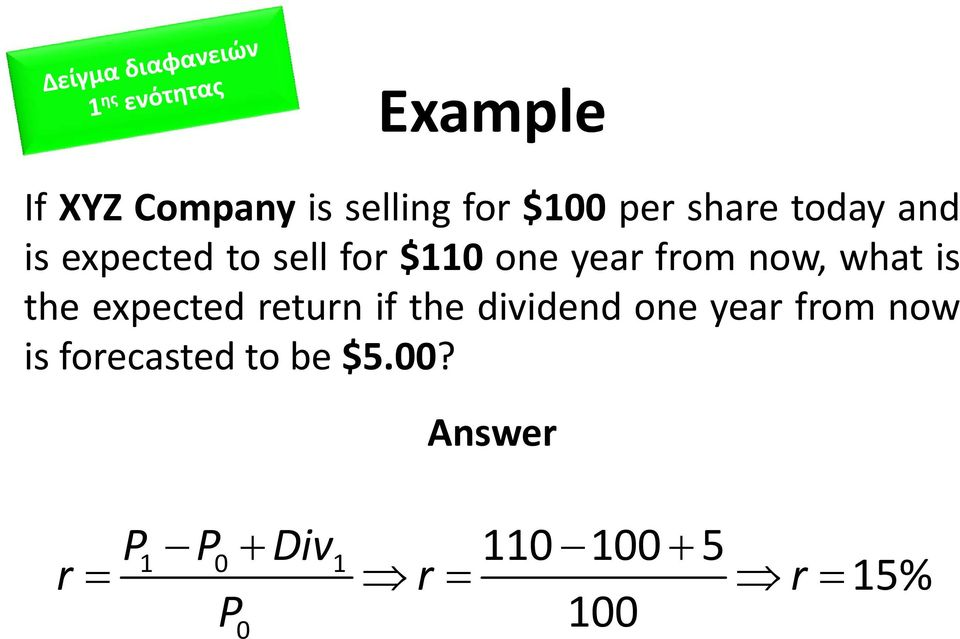 the expected return if the dividend one year from now is