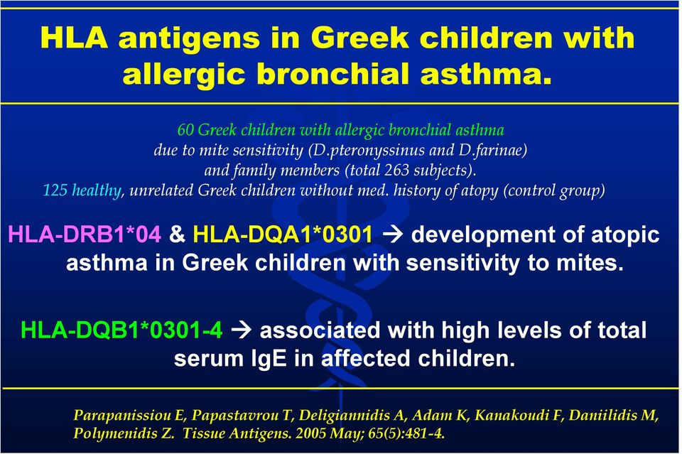 history of atopy (control group) HLA-DRB1*04 & HLA-DQA1*0301 development of atopic asthma in Greek children with sensitivity to mites.